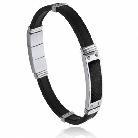 Bracelet homme acier Paeris noir
