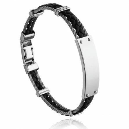 Bracelet homme acier Pharom noir