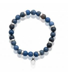 Bracelet homme acier Sodalite bleu