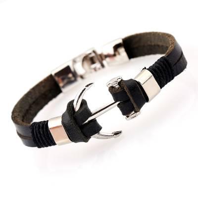 Bracelet homme cuir Ancre Loïck  noir
