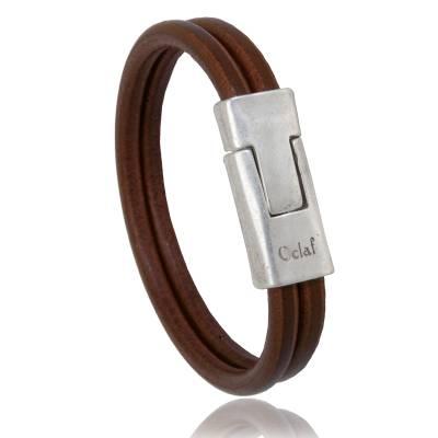Bracelet homme cuir chocolat Imperial