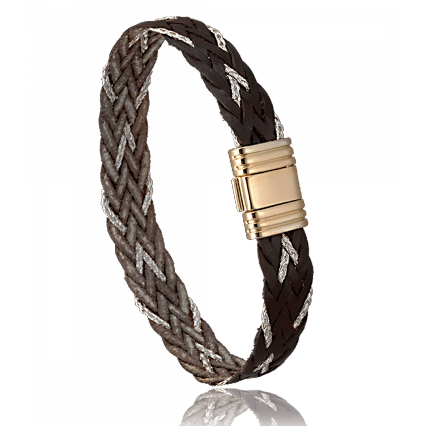 Bracelet homme cuir cuivre marron 2423 for Bracelet cuir homme luxe