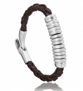 Bracelet homme cuir marron Rasa