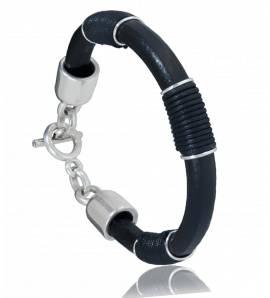 Bracelet homme cuir noir Osaka