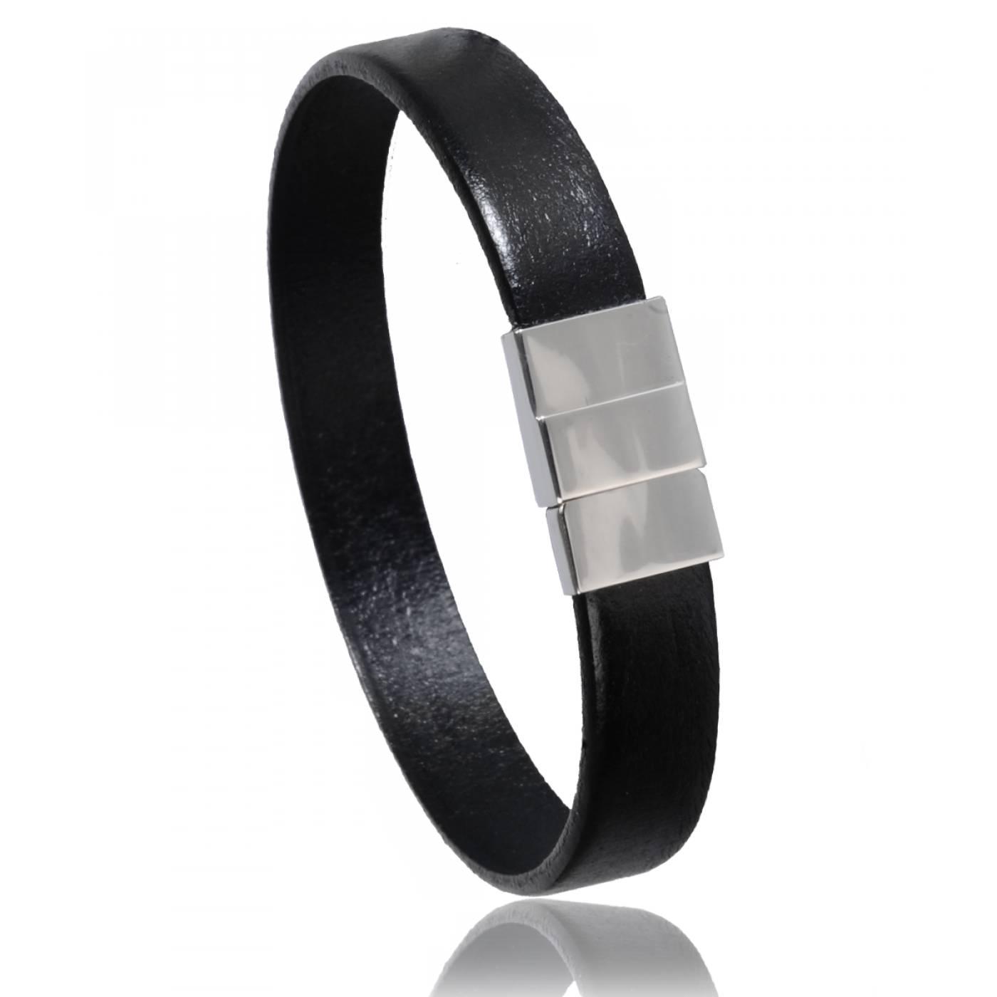 bracelet homme cuir noir di angelo 2093. Black Bedroom Furniture Sets. Home Design Ideas