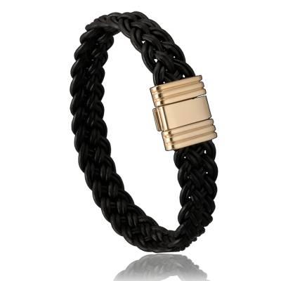 Bracelet homme cuir noir di angelo 2415 for Bracelet cuir homme luxe
