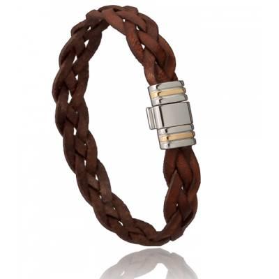 bracelet homme 3 brins cuir marron di angelo. Black Bedroom Furniture Sets. Home Design Ideas