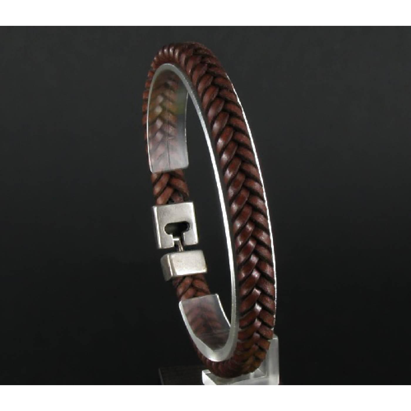 bracelet homme cuir marron 1888. Black Bedroom Furniture Sets. Home Design Ideas
