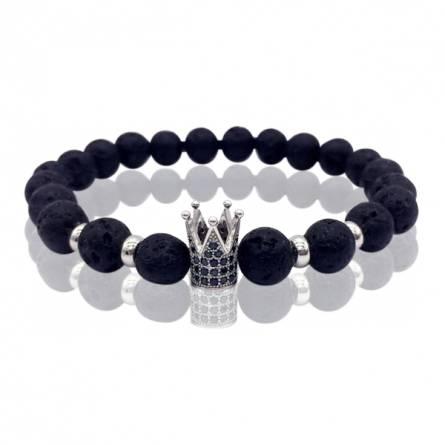Bracelet homme métal argenté Crown 1 noir