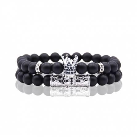 Bracelet homme métal argenté King argenté noir