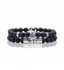 Bracelet homme perle King argenté noir