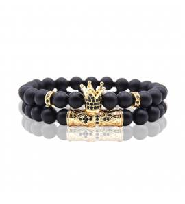 Bracelet homme perle King doré noir