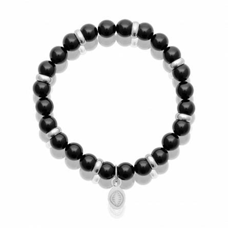 Bracelet homme pierre Agate Brillant noir