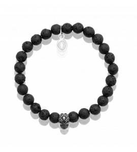 Bracelet homme pierre de lave 2 noir