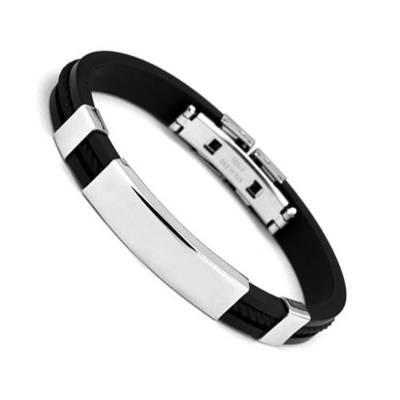 Bracelet homme silicone Samthann noir