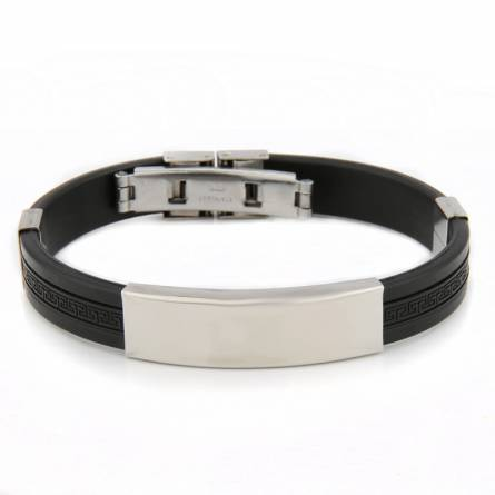 Bracelet homme silicone Valentin noir