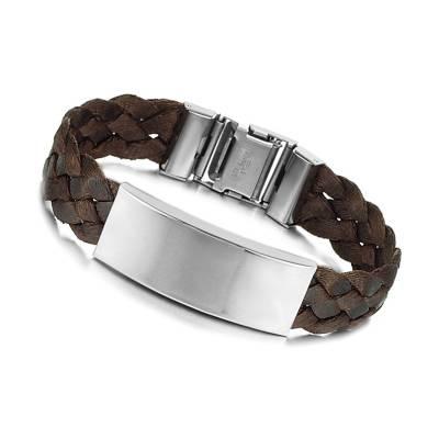Bracelet homme tresse marron
