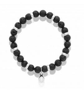 Bracelet lithotherapie Pierre de lave noir et Acier