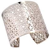 Bracelet manchette floral argenté