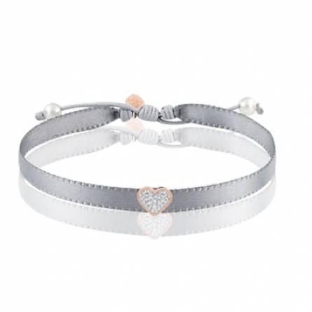 Bracelet or rose coeur diamant et cordon