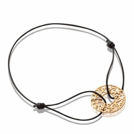 Bracelet Plaqué or et cordon noir Magie