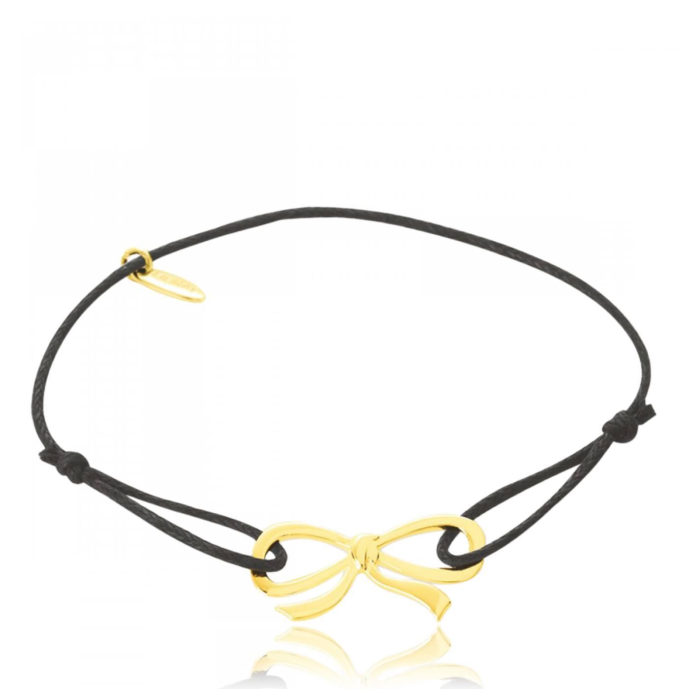 Célèbre Bracelet Femme Noeud Infini Plaqué Or & Coton Ciré Noir - Murat Paris BY98