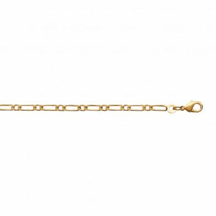 Bracelet plaqué or maille figaro 1-1 3mm
