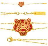Bracelet plaqué or Tiger Kenzo rouge Eusty