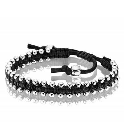 Bracelet Police acier coton noir ajustable Genetic