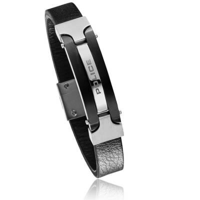 Bracelet Police acier cuir noir Attitude