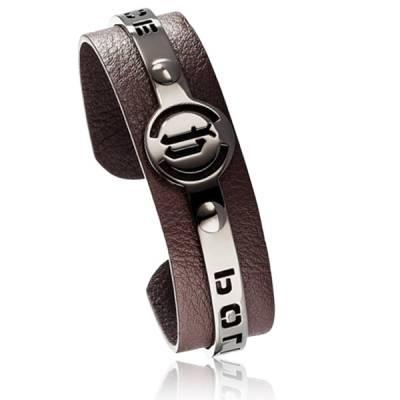 Bracelet Police acier et cuir marron Justice