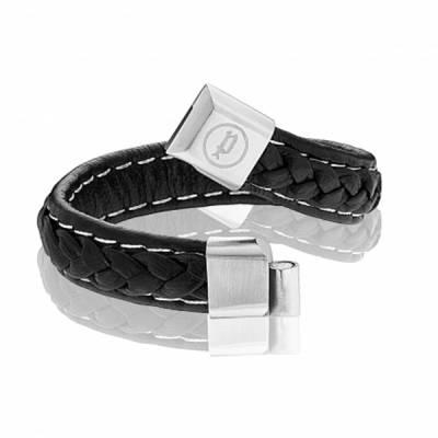 Bracelet Police cuir noir-blanc fermoir acier Severe