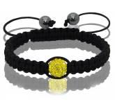 Bracelet Shamballa 1 boule jaune Pascau