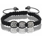 Bracelet Shamballa 3 boules cristal grises