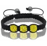 Bracelet Shamballa 3 boules jaunes