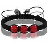 Bracelet Shamballa 3 boules rouges