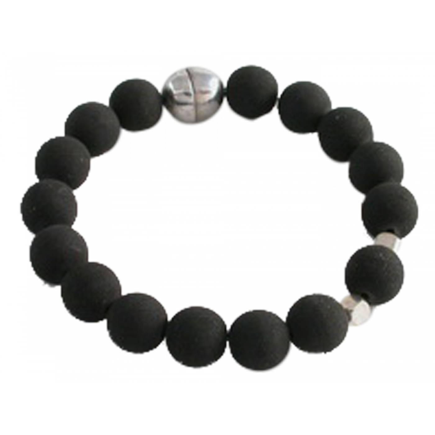 bracelet homme tib tain argent pierre de lave noir cot mecs. Black Bedroom Furniture Sets. Home Design Ideas