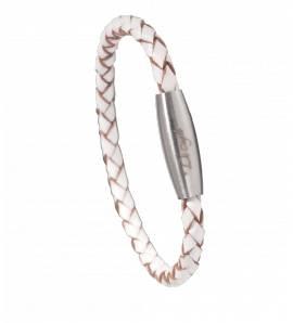 Bracelete couro Renaor  branco