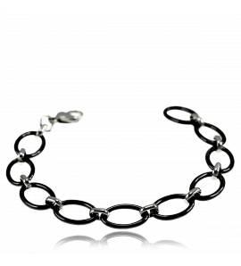 Bracelete feminino cerâmica Francine oval preto