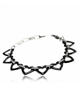 Bracelete feminino cerâmica Marion coração preto