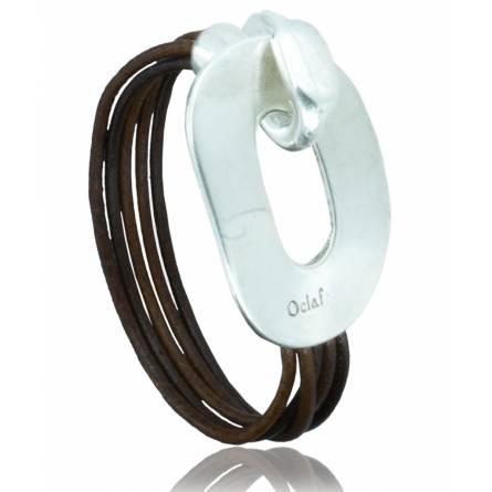 Bracelete feminino couro Brivaëlle marrom