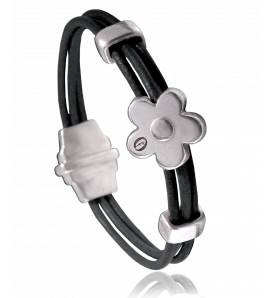 Bracelete feminino couro Dolomiti  preto