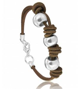 Bracelete feminino couro Naïda marrom