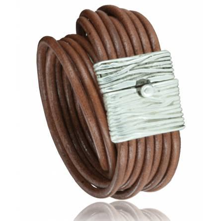 Bracelete feminino couro Recoleta  marrom