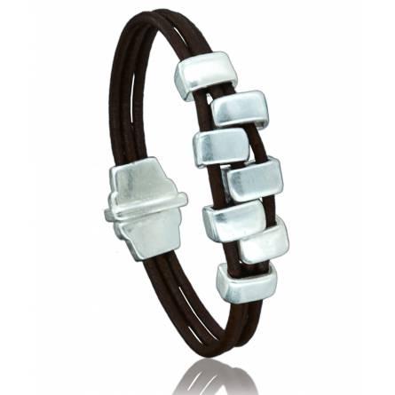 Bracelete feminino couro Talya marrom