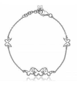 Bracelete feminino prata Trio butterfly