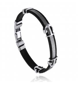 Bracelete masculino aço Alexandre preto