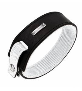 Bracelete masculino couro Color Code White preto