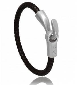Bracelete masculino couro Térésa marrom