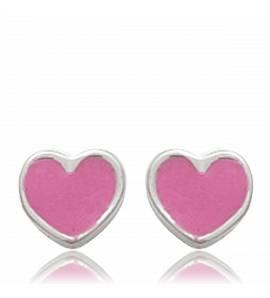 Brincos criança prata Coeur  rosa